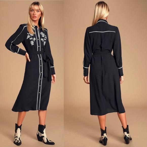 Lulu's Dresses & Skirts - Nathalia Black & White Embroidered MidiShirt Dress